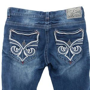 AFFLICTION Jeans Cooper Flap Distressed Faded